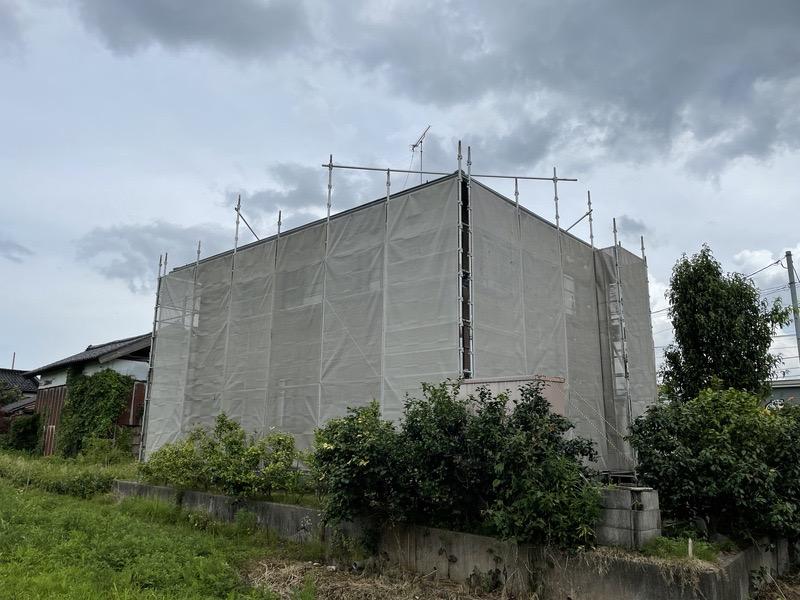 南砺市 外壁塗装 仮設足場組立 メッシュシート