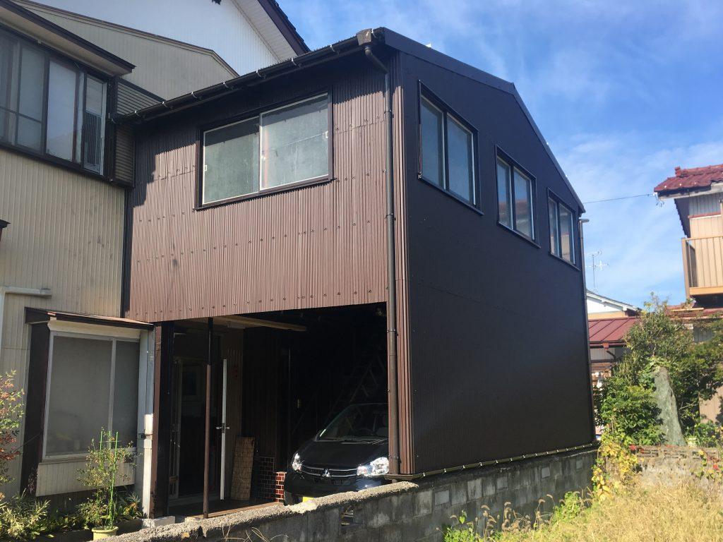 富山市 M様 車庫屋根外壁 ガルバリウム鋼板 工事 富山石川県